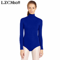 LZCMsoft Adult Royal Blue Mock Neck Long Sleeve Leotards For Gymnastics One Piece Ballet Dancewear Opera