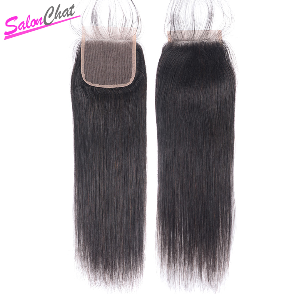 Brazilian Straight Hair Lace Closure 4*4 100% Remy Human Hair Swiss Lace Closure 8-24 Inch Pure Full Hand Tied Closure SalonChat