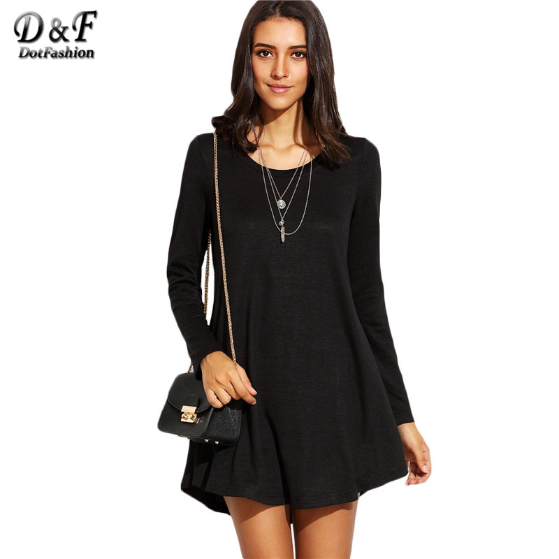 Dotfashion black long sleeve mini t shirt dress 2016 basic Women s long sleeve shirt dress