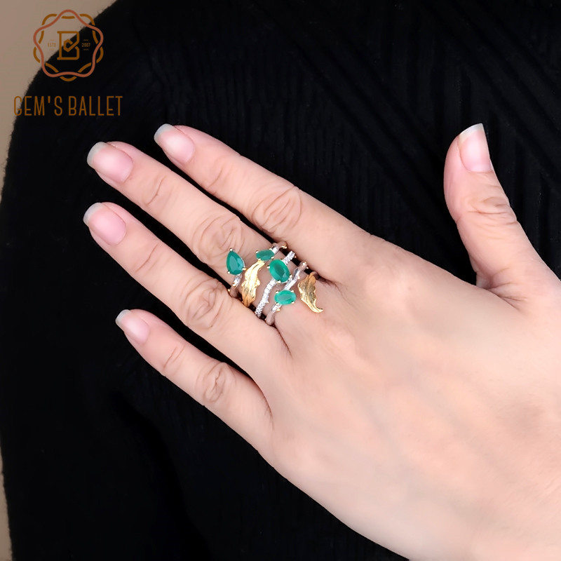 GEM'S BALLET 2.26Ct Natural Green Agate Gemstone Finger Rings 925 Sterling Sliver Fashion Band Ring For Women Gift Fine Jewelry