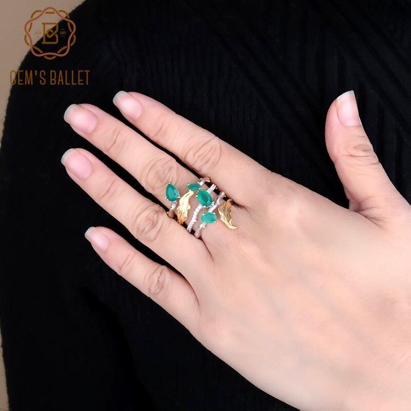Image 2 - GEMS BALLET 2.26Ct Natural Green Agate Gemstone Finger Rings 925  Sterling Sliver Fashion Band Ring For Women Gift Fine JewelryRings