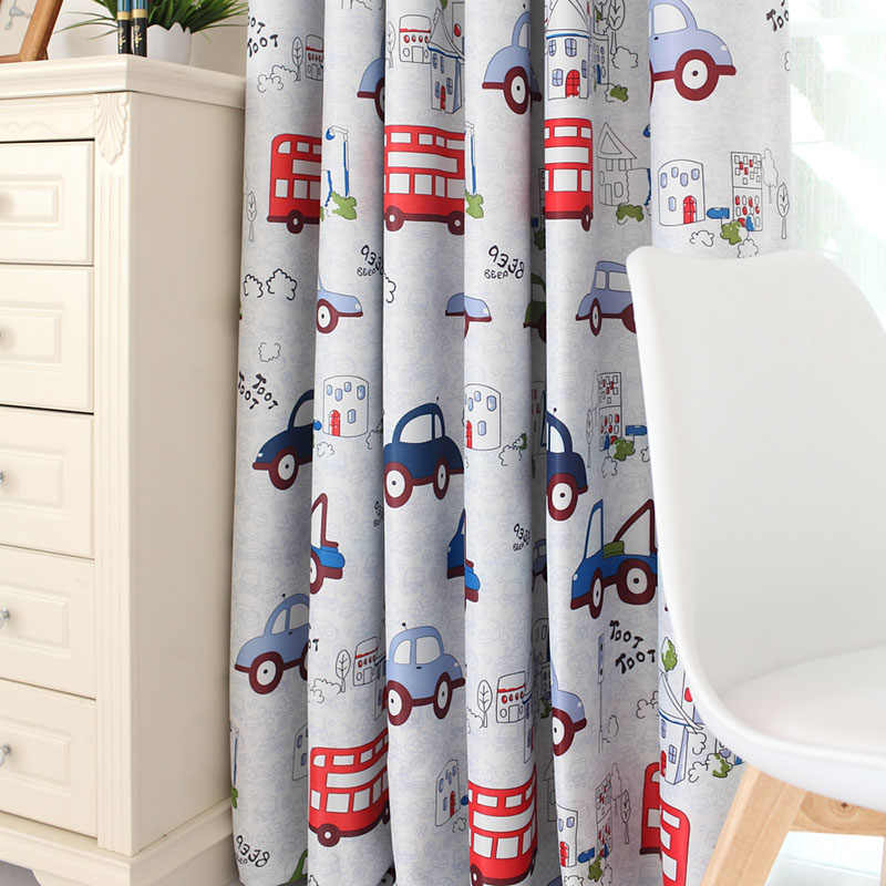 Jealous Cartoon Car Curtains Window Treatments Sheer Curtains For Kids Children Room Living Room Baby Boys Curtains