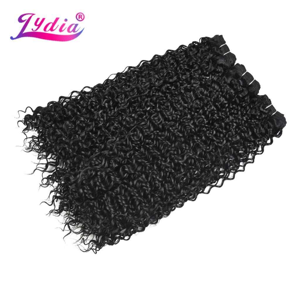 Лидия волна воды синтетические волосы пучки натуральный черный чистый цвет плетение 10-24 дюймов 3 пучки/упаковка двойной уток