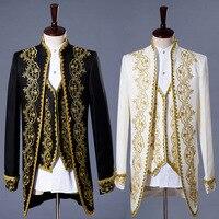 3PCS Tops+ Vest+ Pants Gentlemen Men's Coat Fashion Steampunk Vintage Tailcoat Jacket Gothic Victorian Frock Coat Men's Uniform