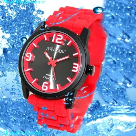 FW848F Black Watchcase Silicone Red Band Boy Girl 100% Tested 3ATM Fashion Watch