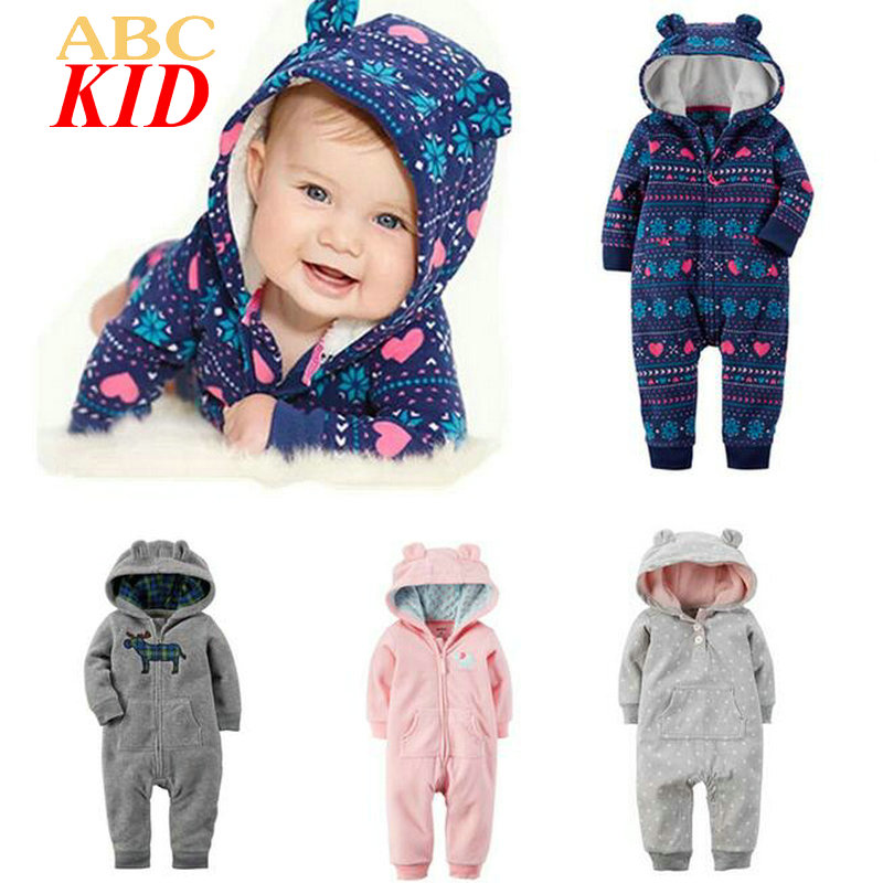 Baby Boy Girl Fleece Rompers Brand Long Sleeve Hooded Cotton Zipper Pajamas Rompers Baby Jumpsuit Ropa Bebes Clothes KD311 baby rompers cotton long sleeve baby clothing overalls for newborn baby clothes boy girl romper ropa bebes jumpsuit p10 m