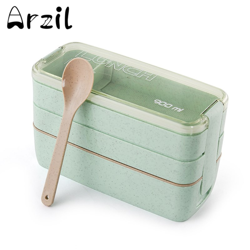 900ML 3 Tier Bento Box Japanese Lunch Box for Picnic Lunch Food Container Storage Tote BPA Free 1 Pc Bento Box + 1 Pc Spoon