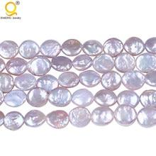 10-11mm Perla Della Moneta Coltivate D'acqua Dolce Borda, foro: Approssimativamente 0.8mm, Venduto per 16 Pollice Strand