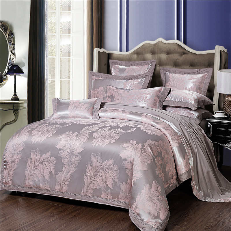Luxury Bedding Sets Satin Jacquard Bed Linen 4pcs Cotton Duvet Cover Sets Bed Sheet Wedding Bedclothes Queen King SizeLuxury Bedding Sets Satin Jacquard Bed Linen 4pcs Cotton Duvet Cover Sets Bed Sheet Wedding Bedclothes Queen King Size