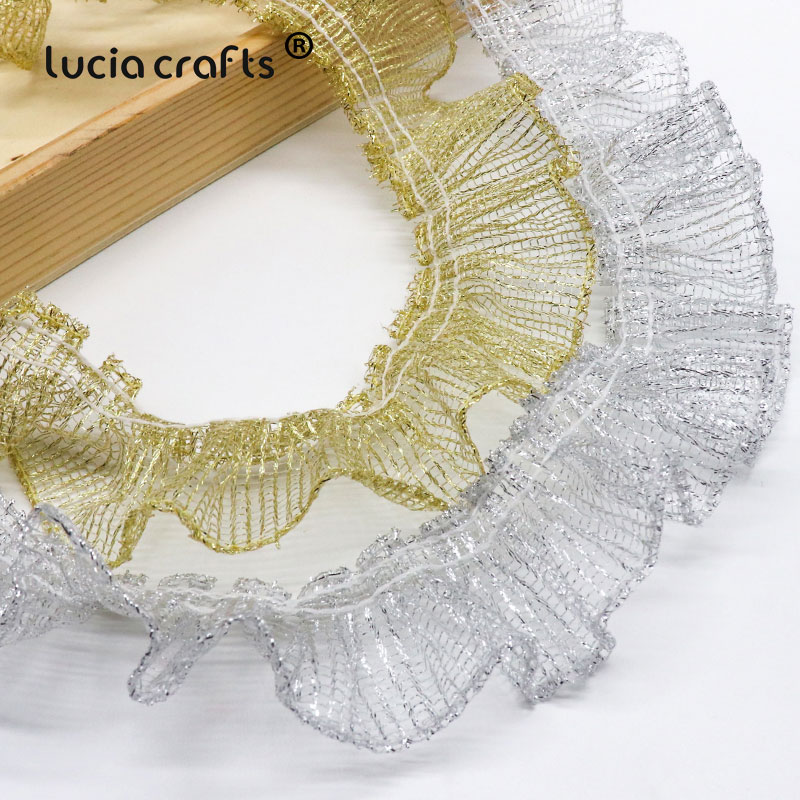 1 Metre Sequin Lace Sew-on Available in Gold Silver and Copper Gold 1.5cm Wide