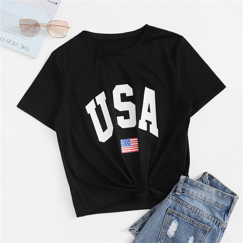 Black Round Neck Short Sleeve Woman Casual Top Tee 1