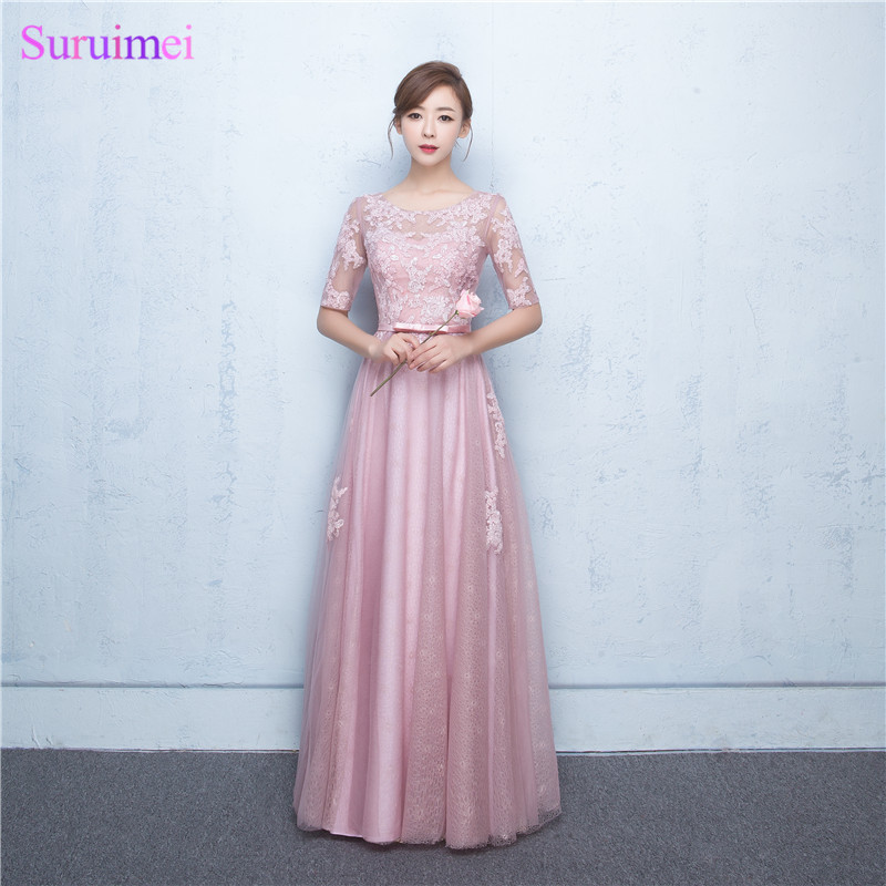 Blush Rose Pink Bridesmaid Dresses High Quality Sequines Lace Tulle Corset Long Brides Maid Dress with Half Sleeves