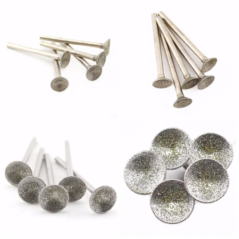 20Pcs 0.8-16mm Lapidary Diamond Grinding Head Spherical Concave Abrasive Mounted Point Jewelry Carving Tools Stone For Dremel