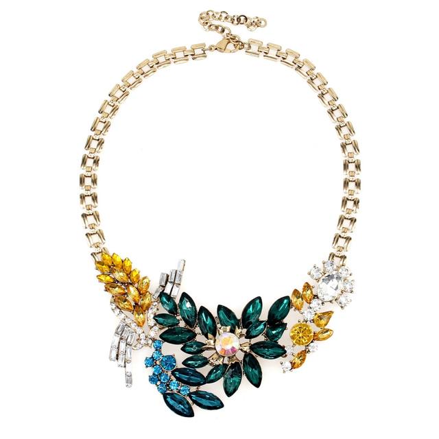 Crystal Floral Embellished Statement Necklace