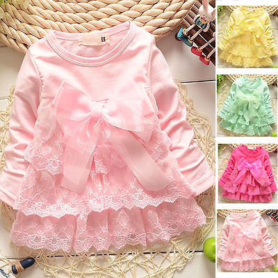 Kids Baby Girls Autumn Tops Dress Baby Long Sleeve Girls Clothes Toddler Infant Girl Princess Bow Lace Party Dresses Wholesale new 2017 baby girls ruffle sweater dress kids long sleeve princess party christmas dresses autumn toddler girl children clothes