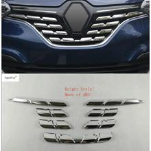 ABS ! Accessories For Renault Kadjar 2016 2017 Front Face Grille Grill Lid Streamer Molding Cover Kit Trim 7 Pcs / Set lapetus 2 color for choice accessories for renault kadjar 2016 2017 2018 abs front pillar a triangle molding cover kit trim