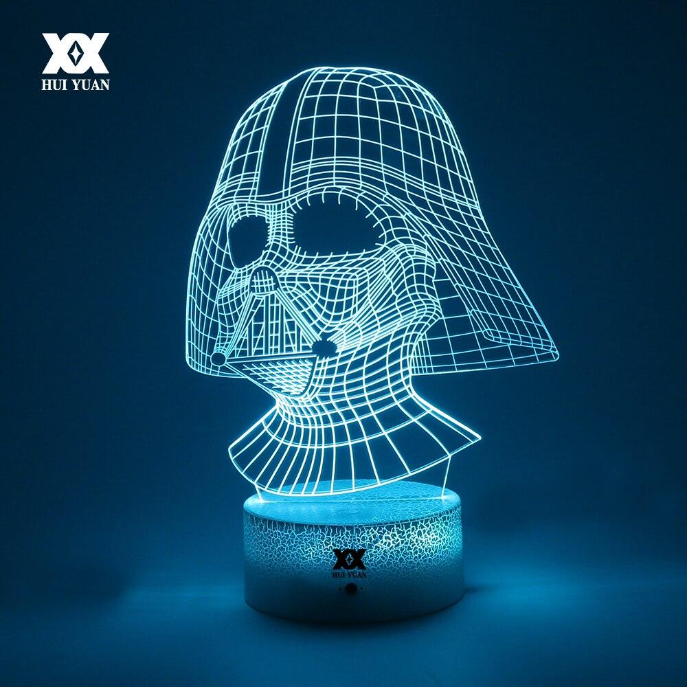 Star Wars Anakin Skywalker 3D Lampe Darth Vader Kreative Riss 7 Farbe Basis Nachtlicht LED Dekorative Tischlampe Kind der geschenk