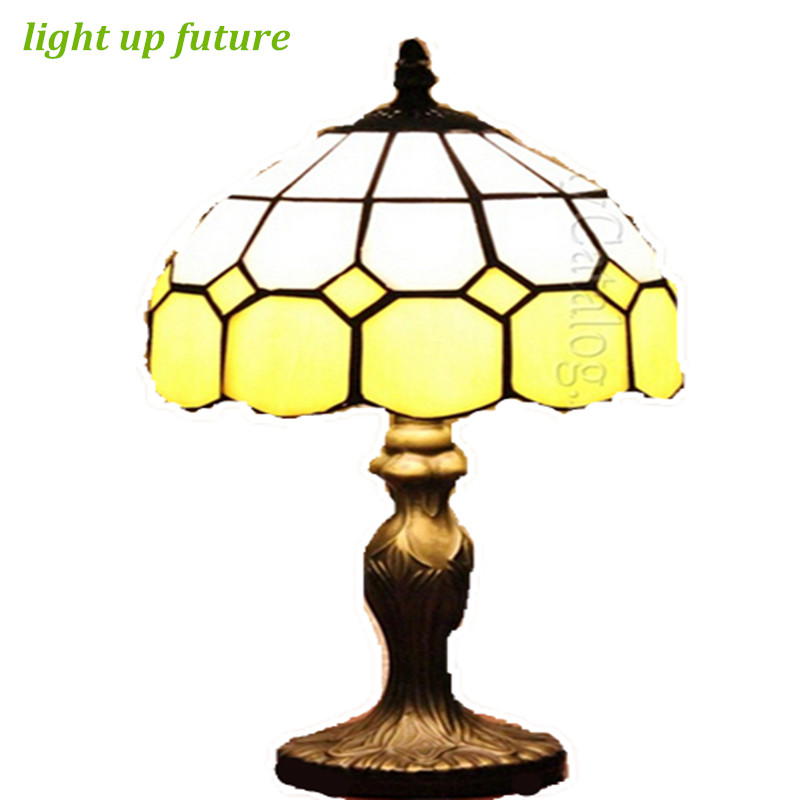 Brief yellow glass dia 20cm led e27 tiffany table lamp for for Table lamp 27 cm