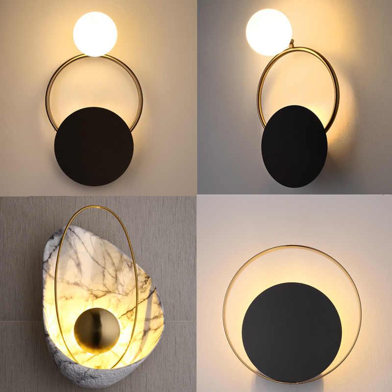 Скандинавский пост-современная металлическая настенная лампа минималистичный арт дизайнер гостиная украшение настенная лампа Эксклюзив прохода кровать круглая