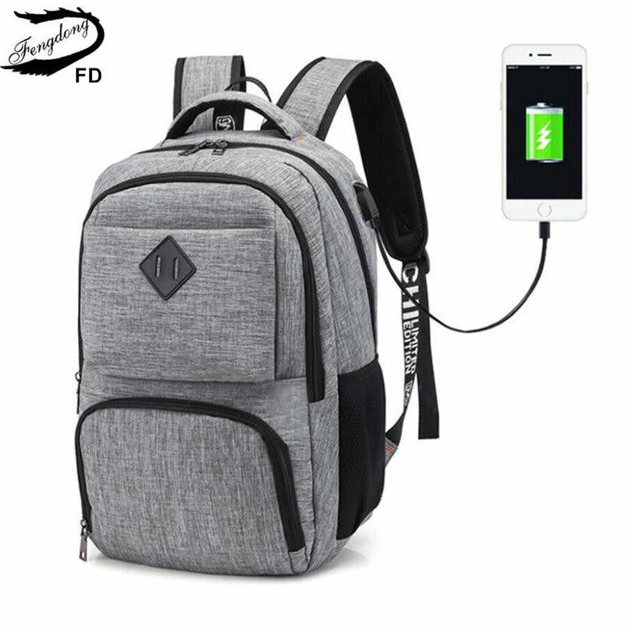 FengDong men waterproof travel laptop backpack usb charge bagpack college student school backpack boys school bags dropshipping
