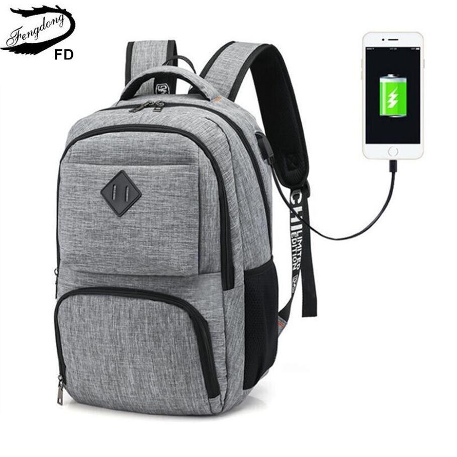 FengDong Men Waterproof Travel Laptop Backpack Usb Charge Bagpack College Student School Backpack Boys School Bags Dropshipping