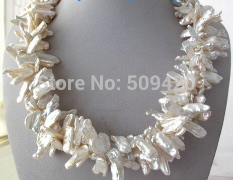 Free Shipping >>Luster 3Strands White Rainbow Biwa Stick Freshwater Pearl Necklace 20
