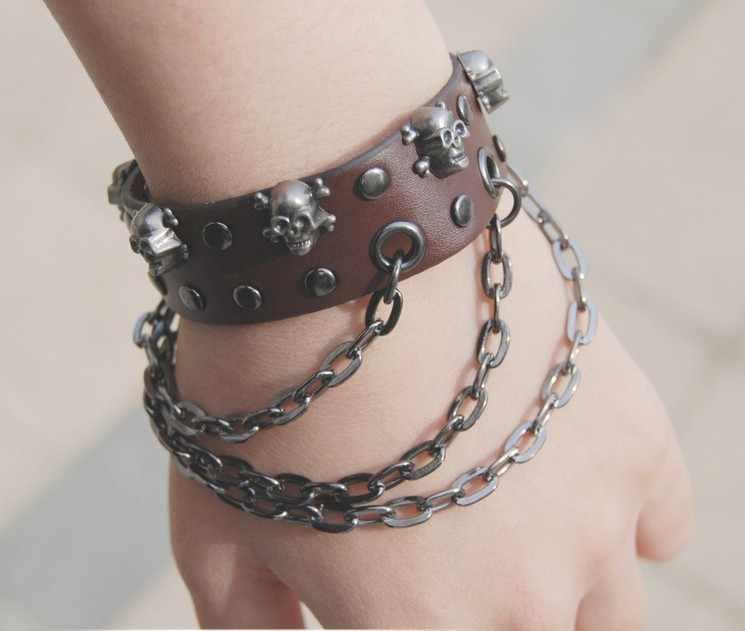 Punk Rivets Hand Chain Bracelets For Women Leather Bracelet Men Skeleton Skull Bangles Pulseira Masculina Bileklik Black Brown