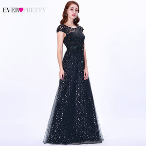 Image 3 - Prom Dresses Long 2020 Ever Pretty EZ07650 Womens Elegant Navy Blue Sleeveless Lace Appliques Embroidery Tulle Vestido Formatur