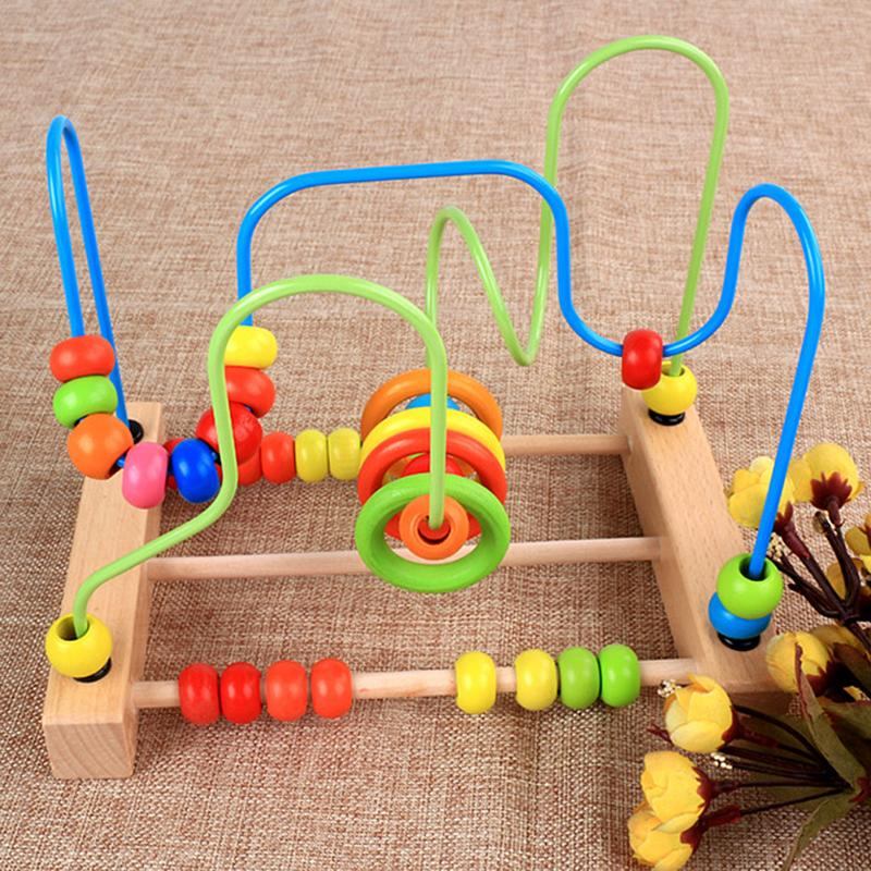 Wooden Math Counting Beads Abacus Maze Toy Educational Roller Coaster Labyrinth Around Beads Calculation Toy