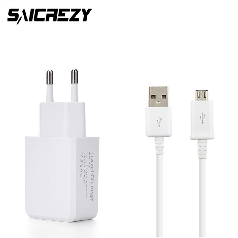 <font><b>5V</b></font> 2.4A <font><b>USB</b></font> <font><b>Charger</b></font> EU Plug Travel <font><b>Wall</b></font> <font><b>charger</b></font> + Micro <font><b>USB</b></font> Cable for Redmi 6 3 3s 4 4X 4A Note 4 Huawei Honor 4C 4X 5C 5X 5A image