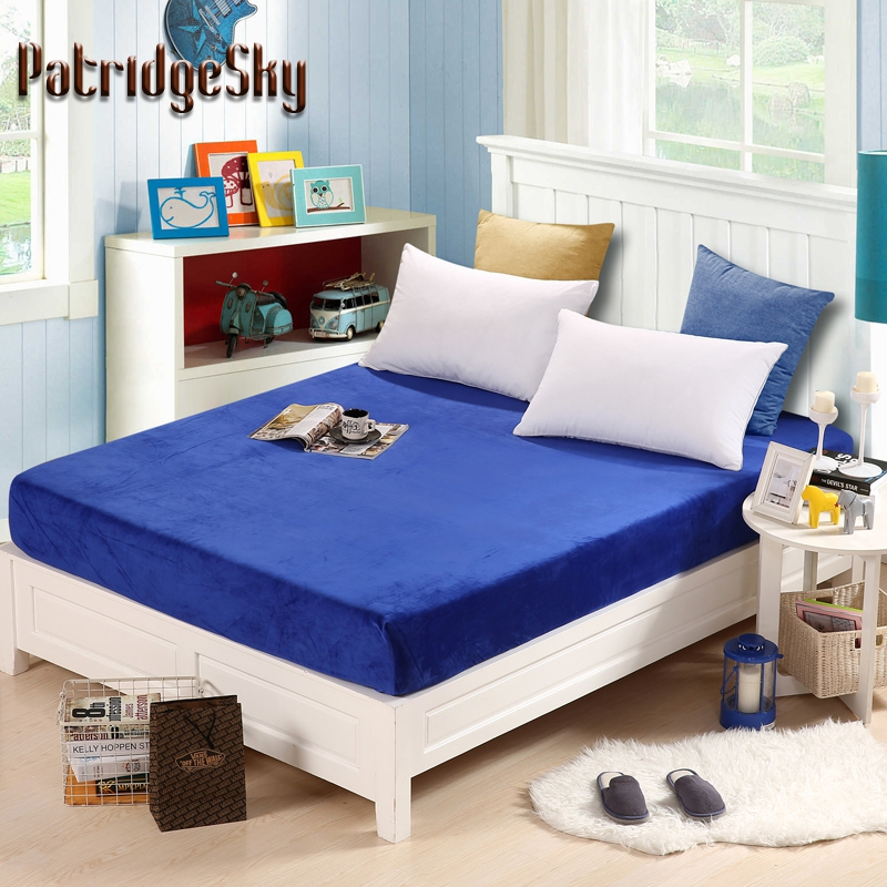 PatridgeSky 1PC Flannel Fitted Bed Sheet Top Mattress Cover Solid Color Blue Camel Full Queen King Winter couvre matelas Elastic ...