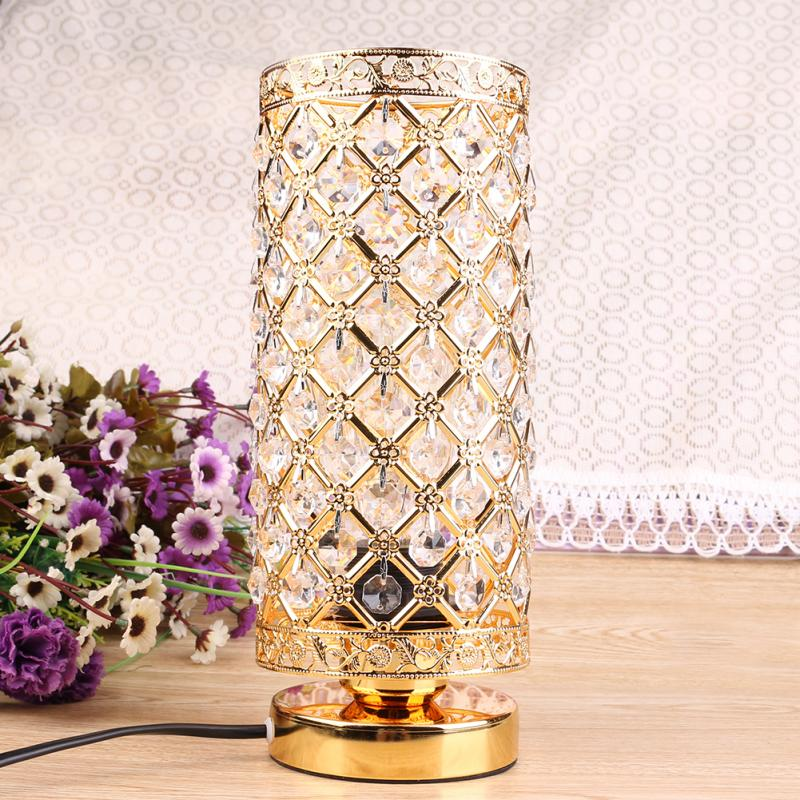 Modern Table Lamp crystal Bedside Desk Light Home Shade Lighting Glass Bedroom