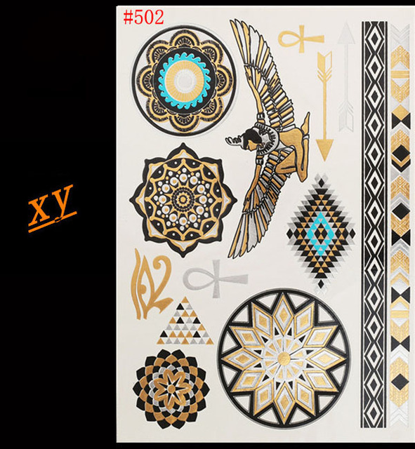 Free shipping gold and silver tattoos egyptian pharaoh 39 s for Egyptian tattoo flash