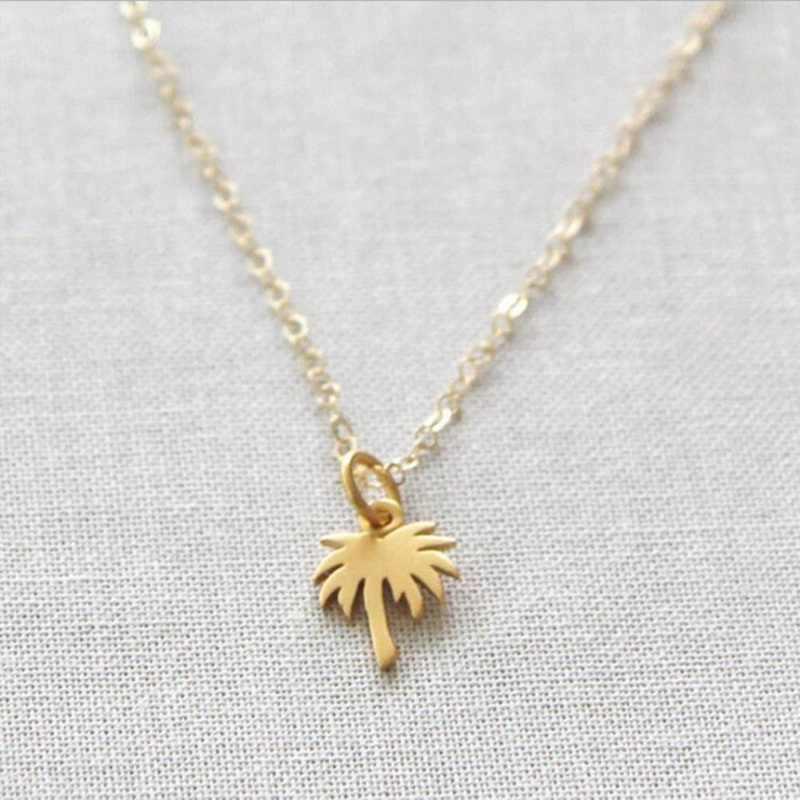 Gargantilla Boho Palma de Oro collar de árbol colgante collar de cadena de acero inoxidable para mujeres isla vida Bff joyería