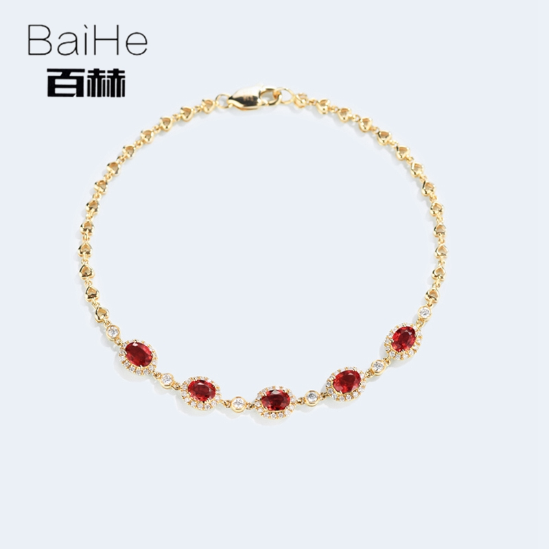 BAIHE Solid 14K Yellow Gold 1CT Certified H/SI 100% Genuine Natural Ruby Anniversary Women Trendy Fine Jewelry unique Bracelet цена