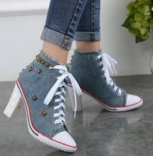 Women Punk Denim Lace Up Rivet High Heel Stiletto Sneaker Canvas Ankle Boots  Hot A2