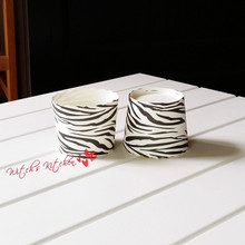 Free shipping classical black white zebra stripe cupcake case big muffin stripe cake cups liners, cupcakes boxes holder supplies