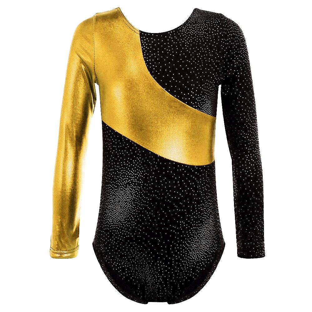 Z długim rękawem złoty foliowane trykoty gimnastyczny kombinezon dla dziewczynek dzieci 2-16Y balet gimnastyka trykot akrobatyczny dzieci Dancewear