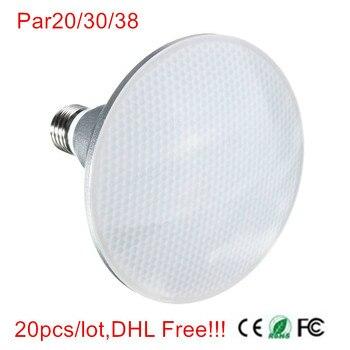 ¡20 unids/lote... E27 9 W/12 W/15 W PAR20 PAR30 PAR38 impermeable IP65 bombilla de foco LED lámpara de interior iluminación regulable AC85-265V envío gratuito con DHL!