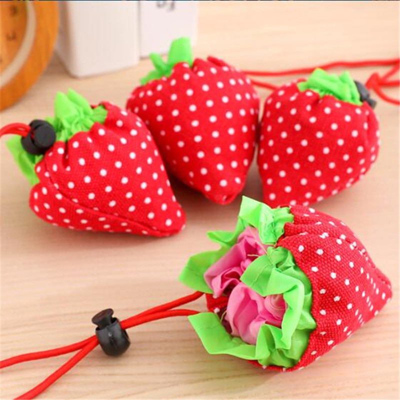 Tote Handbag Storage-Bag Grocery Folding Nylon Strawberry Reusable Ladies for Girls Creative