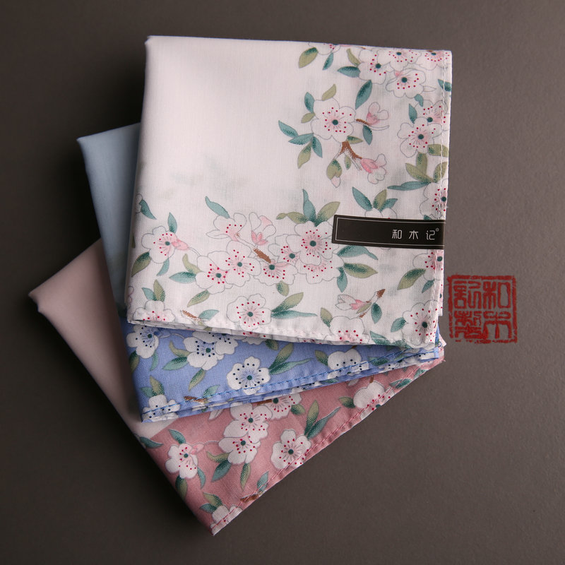 Handkerchief Women's Sweat Absorbing 100% Cotton Sakura Print Soft And Thin