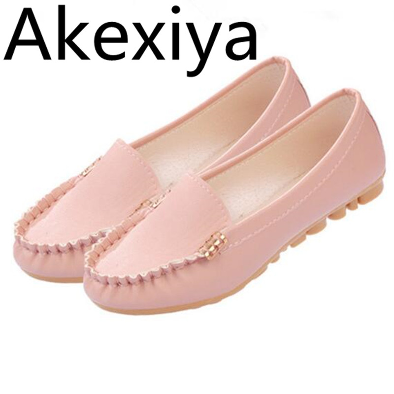 Akexiya 2017 New Women Flats Leather Fashion Shoes Slip on Woman Loafers Cheap Flat Shoes Size 35~40 Moccasins Free Shipping fashion tassels ornament leopard pattern flat shoes loafers shoes black leopard pair size 38