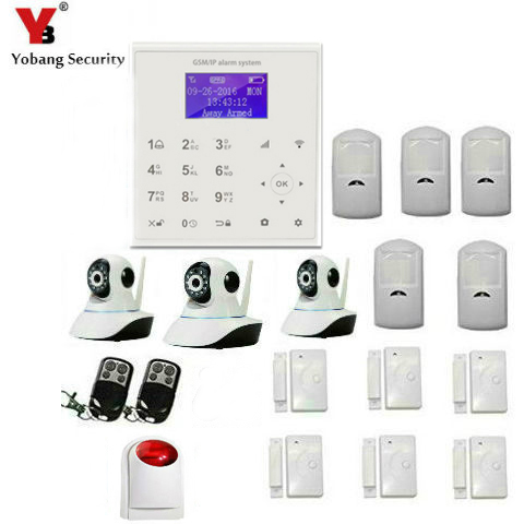 YobangSecurity Wireless Wifi GSM GPRS Home Burglar Security Alarm System Video Ip Camera with Wireless Siren PIR Motion Sensor fuers wifi gsm sms home alarm system security alarm new wireless pet friendly pir motion detector waterproof strobe siren