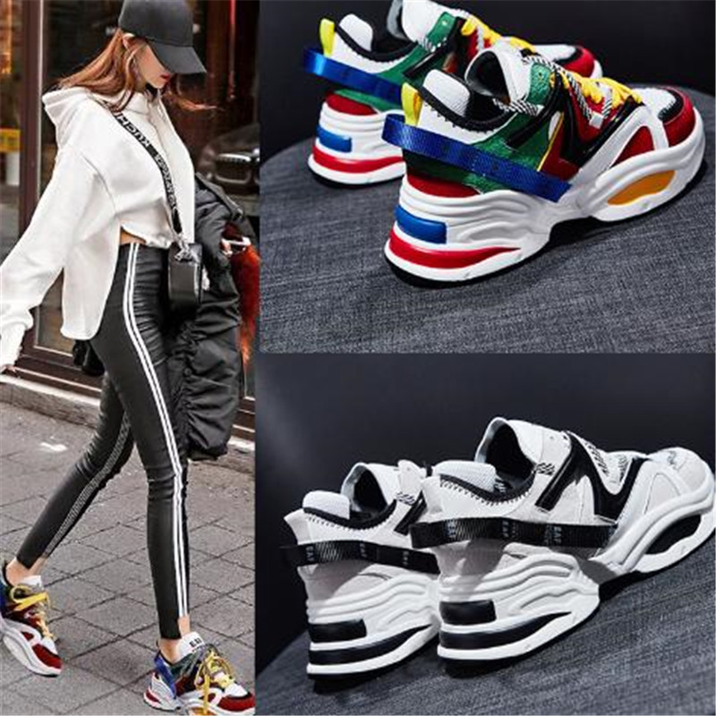 2018 new autumn and winter Korean version of Harajuku wild thick super fire old shoes   leather   cattle   suede   comfortable casual.