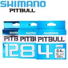 をオリジナルシマノ釣り糸ピットブル 150 メートル X4/X8/X12 PE 編組釣り線グリーン/ブルーメイド日本の高強度とソフト