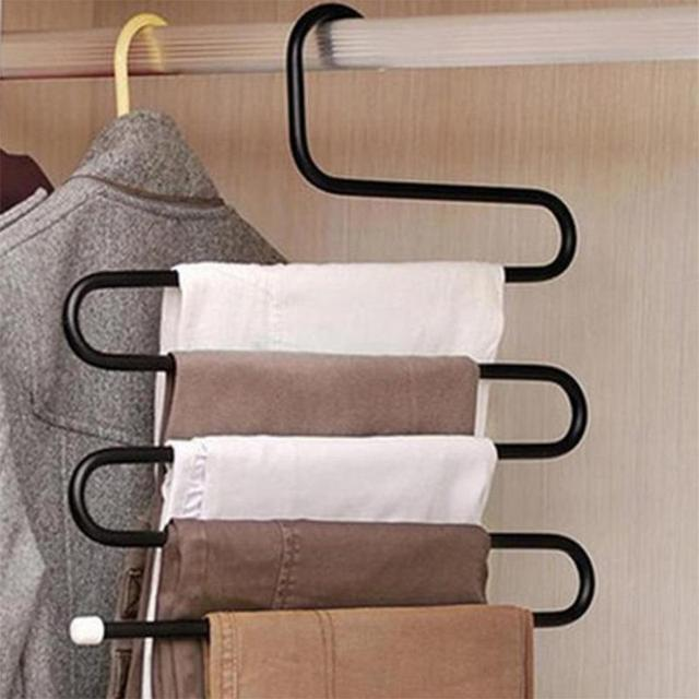Attirant Anti Slip S Type Magic Stainless Steel Pants Hanger Multifunction Trousers Closet  Belt Holder