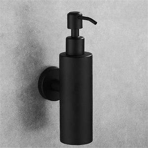 Image 3 - נוזל סבון Dispenser יד מטבח כיור סבון מיכל 304 נירוסטה שחור אמבטיה שמפו בעל קיר רכוב בקבוק