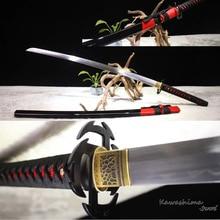 Handmade Japanese Katana 1060 Carbon Steel Heat Tempered Replica Anime Bleach Sword Tsuba Sharpness Reay for