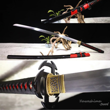 Handmade Japanese Katana 1060 Carbon Steel Heat Tempered Replica Anime Bleach Sword Tsuba Sharpness Reay for Cutting