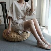2018 summer korean version v neck female line cotton doll dress lantern sleeve lace up dress